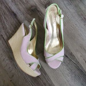 Lilly Pulitzer Striped Peep Toe Slingback Wedge